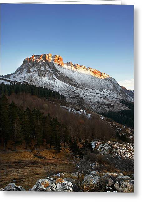Spanish Peaks Greeting Cards - Last rays of sun on the mountain Greeting Card by Mikel Martinez de Osaba