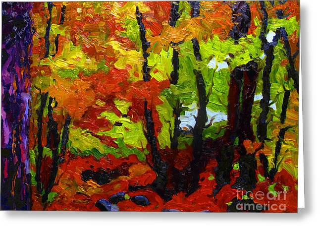 Forest Floor Paintings Greeting Cards - Last Reds Greeting Card by Charlie Spear