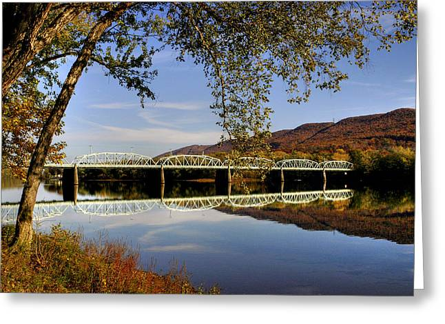Williamsport Greeting Cards - Last Reflections of the Old Bridge Greeting Card by Gene Walls