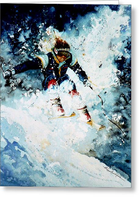 Winter Sports Art Prints Greeting Cards - Last Run Greeting Card by Hanne Lore Koehler