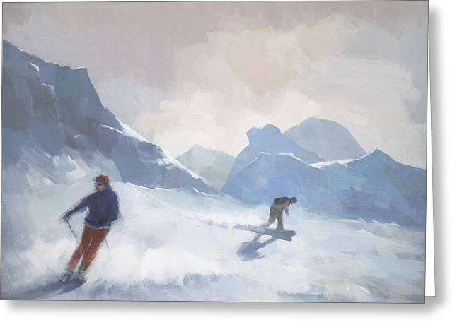 Snowboard Greeting Cards - Last Run Les Arcs Greeting Card by Steve Mitchell