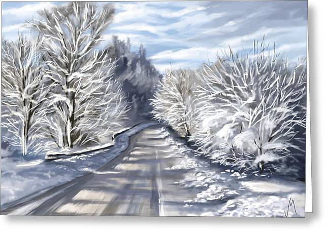 Snowscape Greeting Cards - Last snow series n1 Greeting Card by Veronica Minozzi