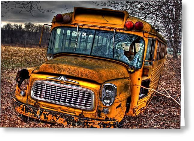 Rural School Bus Greeting Cards - Last Stop Greeting Card by Steve Ratliff