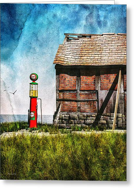 Bob Orsillo Mixed Media Greeting Cards - Last Stop Texaco Greeting Card by Bob Orsillo