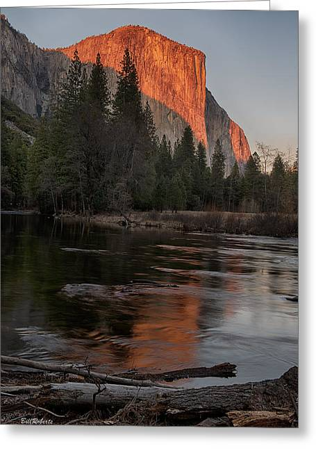 River Scenes Photographs Greeting Cards - Last Sun on El Capitan Greeting Card by Bill Roberts