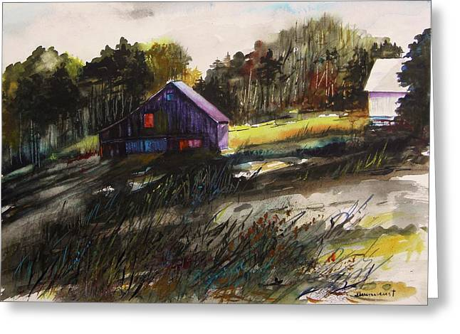 Old Barn Drawing Greeting Cards - Last Sunlight Greeting Card by John  Williams