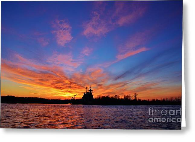 Peaceful Scene Greeting Cards - Last Sunset - 1 Greeting Card by Bob Sample