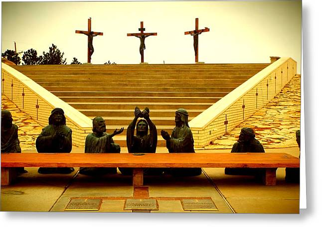Last Supper Greeting Cards - Last Supper - Crucifixion Greeting Card by Cindy Croal