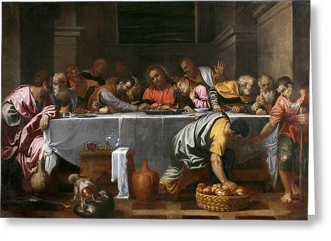Last Supper Greeting Cards - Last Supper Greeting Card by Agostino Carracci