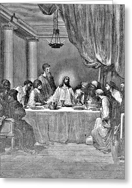 Pen And Ink Drawing Greeting Cards - Last Supper Biblical Illustration Greeting Card by