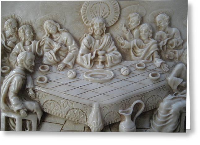 Ceramic Relief Sculpture Greeting Cards - Last Supper Ceramic Relief Greeting Card by Dotti Hannum
