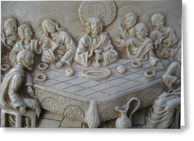 Ceramic Reliefs Greeting Cards - Last Supper Ceramic Relief Greeting Card by Dotti Hannum