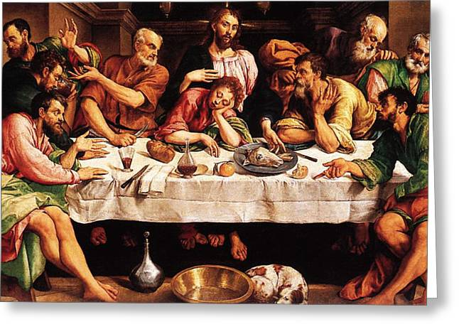 Last Supper Greeting Cards - Last Supper Greeting Card by Jacopo Bassano