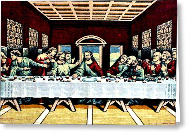 Last Supper Mixed Media Greeting Cards - Last Supper Greeting Card by Larry Stolle