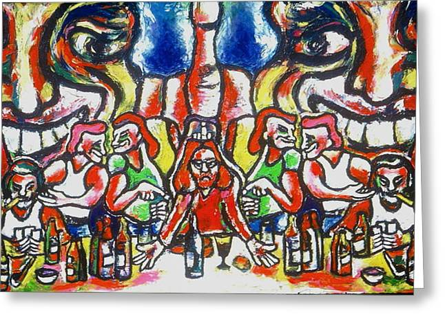 Last Supper Greeting Cards - Last Supper Party The Present Vulgarity Greeting Card by Kenneth Agnello