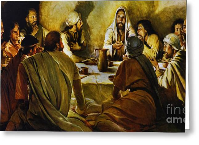 Judas Greeting Cards - Last Supper Reproduction Greeting Card by Al Bourassa