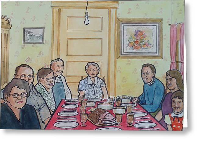Marie-louise Paintings Greeting Cards - Last Supper Together 1956 Greeting Card by Frank Hunter