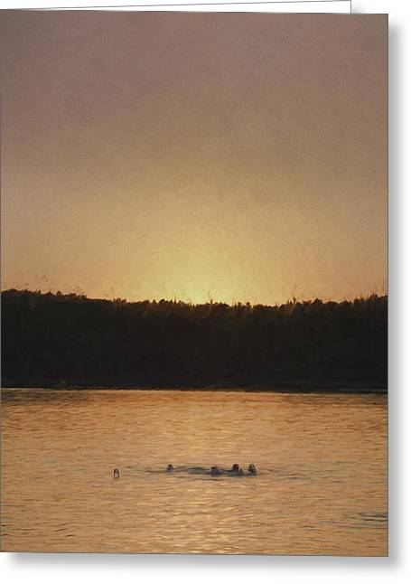 Walden Pond Greeting Cards - Last Swim Greeting Card by Jean-Pierre Ducondi