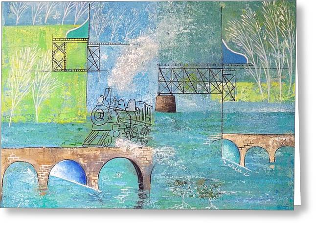 Mangrove Forest Paintings Greeting Cards - Last Train to Paradise #2 Greeting Card by Natalie L