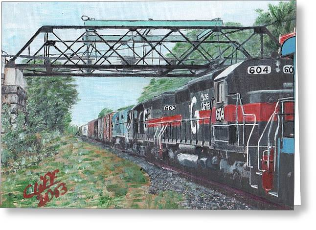 Millbury Greeting Cards - Last Train Under the Bridge Greeting Card by Cliff Wilson