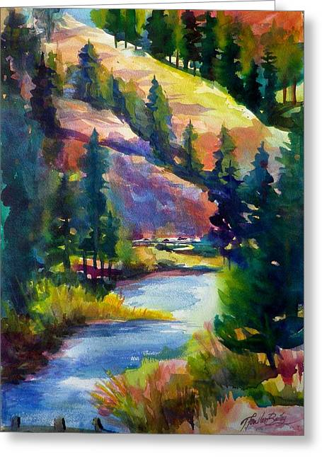Therese Fowler-bailey Greeting Cards - Last View of the Truckee  ORIGINAL SOLD Greeting Card by Therese Fowler-Bailey