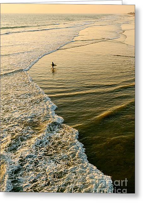 Surf Silhouette Greeting Cards - Last Wave - Lone surfer waiting for the perfect wave in Huntington Beach Greeting Card by Jamie Pham