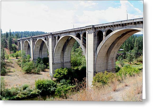 Grey Clouds Pyrography Greeting Cards - Latah Creek Bridges Greeting Card by DUG Harpster