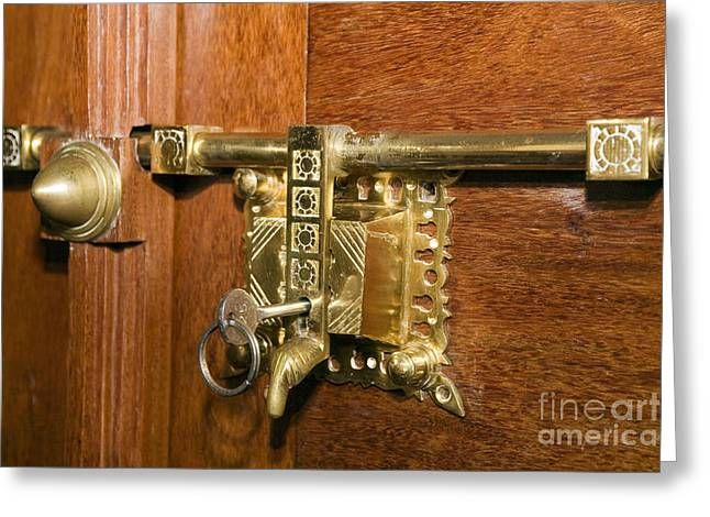 Brass Fittings Greeting Cards - Latch and Lock h Greeting Card by Ladi  Kirn