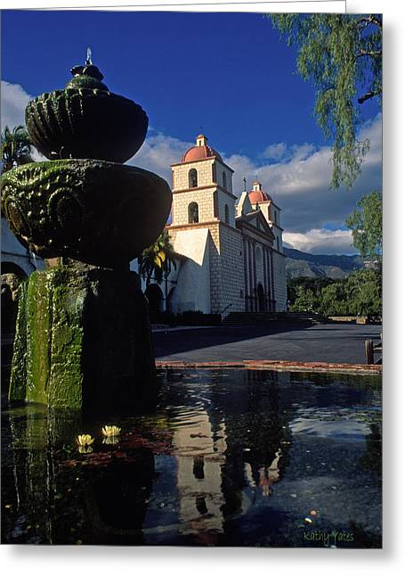 Historical Buildings Greeting Cards - Late Afternoon at the Santa Barbara Mission Greeting Card by Kathy Yates