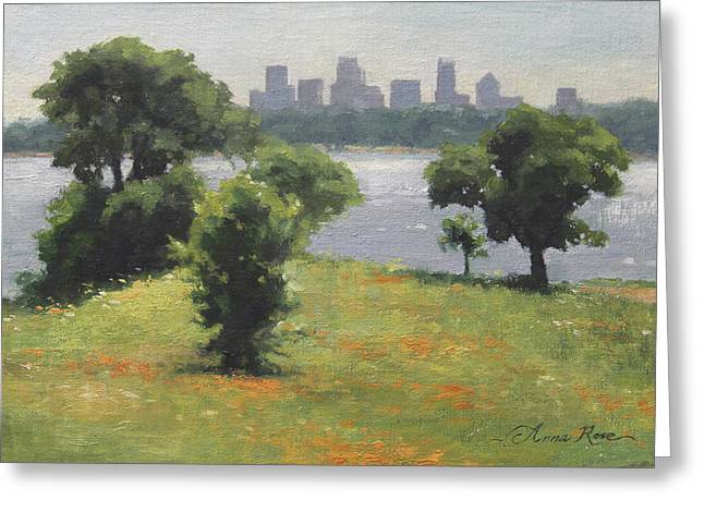 Skyline Paintings Greeting Cards - Late Afternoon at Winfrey Point Greeting Card by Anna Rose Bain