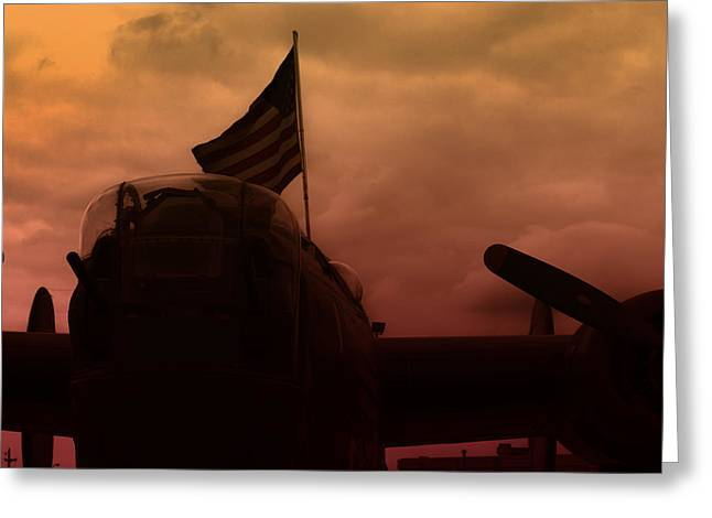 Ww Ii Greeting Cards - Late Afternoon B17 Flying Fortess  Greeting Card by M K  Miller