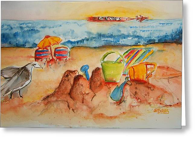 Recently Sold -  - Sand Castles Greeting Cards - Late Afternoon Beach Greeting Card by Elaine Duras