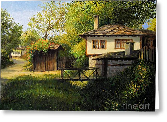 Bulgaria Paintings Greeting Cards - Late Afternoon in Bojenci Greeting Card by Kiril Stanchev