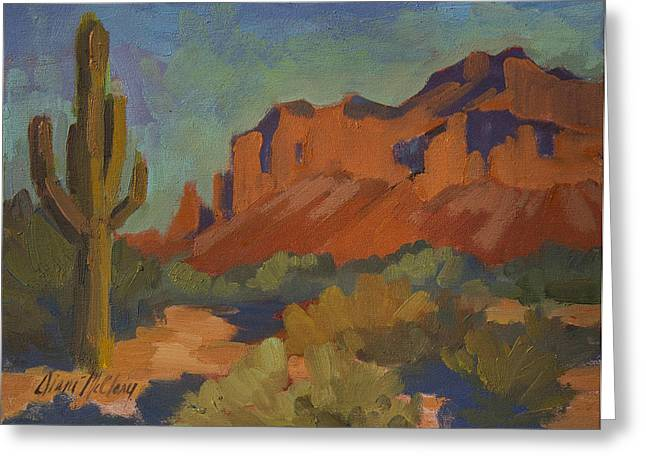 Saguaro Cactus Greeting Cards - Late Afternoon Light at Superstition Mountain Greeting Card by Diane McClary