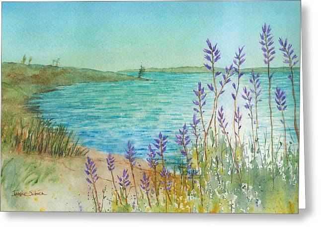 Sun Rays Paintings Greeting Cards - Late Afternoon Morrow Bay Greeting Card by Janice Sobien