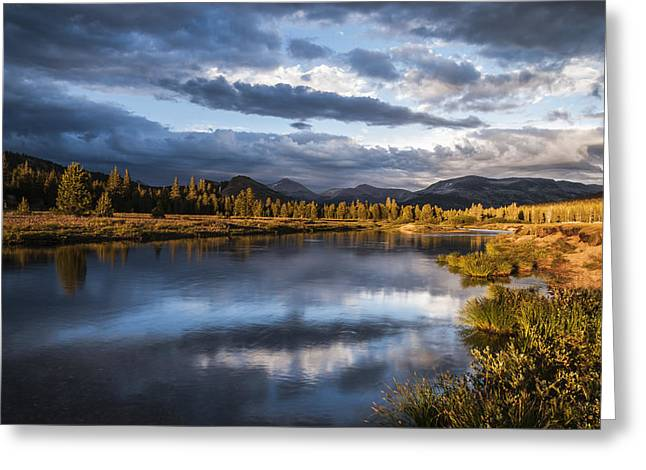 Cloudy Days Greeting Cards - Late Afternoon on the Tuolumne River Greeting Card by Cat Connor