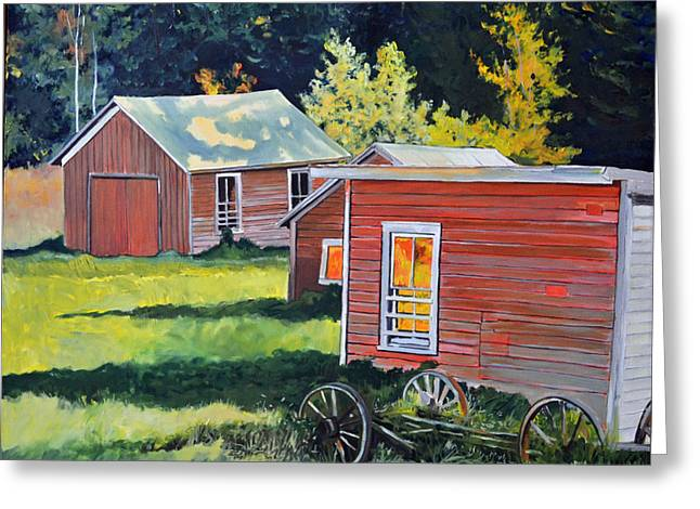 Shed Paintings Greeting Cards - Late Afternoon Sheds Greeting Card by Thomas Stratton