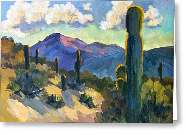 Country Scenes Greeting Cards - Late Afternoon Tucson Greeting Card by Diane McClary
