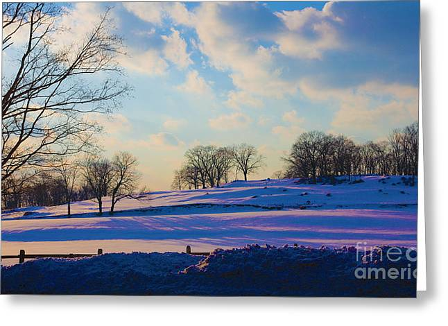 Snow-covered Landscape Digital Art Greeting Cards - Late Afternoon Winter Greeting Card by Dan Hilsenrath