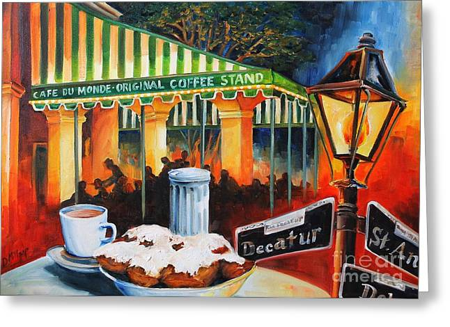 Night Cafe Greeting Cards - Late at Cafe Du Monde Greeting Card by Diane Millsap