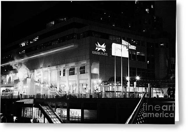 North Vancouver Greeting Cards - late evening at canada place building Vancouver BC Canada Greeting Card by Joe Fox
