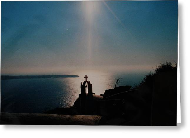 Oceon Greeting Cards - Late Evening Meditation on Santorini island Greece Greeting Card by Colette V Hera  Guggenheim