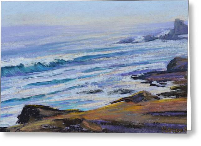 Point Lobos Greeting Cards - Late Evening Waves Greeting Card by Patricia Rose Ford
