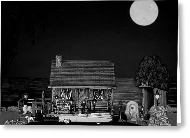 Night Lamp Greeting Cards - Late Flight In Black And White Greeting Card by Leslie Crotty