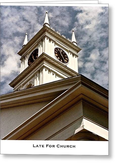 New England Village Greeting Cards - Late for Church Greeting Card by Lorenzo Laiken