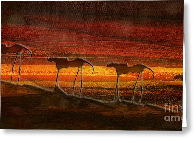 Rosy Hall Greeting Cards - Late in the evening the strange horses came Greeting Card by Rosy Hall
