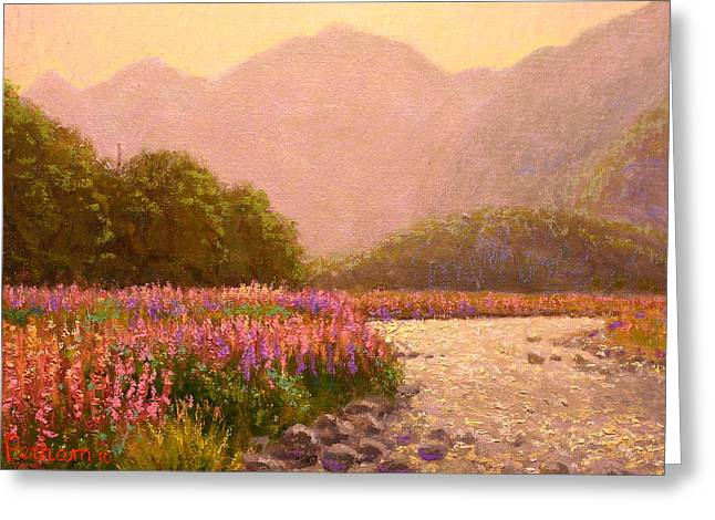 Terry Perham Paintings Greeting Cards - Late light Egglinton valley Greeting Card by Terry Perham