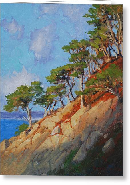 Reserve Paintings Greeting Cards - Late Light Point Lobos Greeting Card by Armand Cabrera