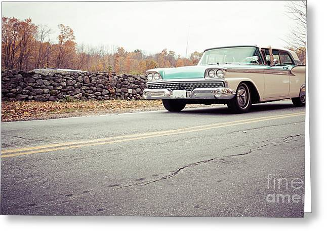 Old Automobile Greeting Cards - Late model vintage two tone car on the road Greeting Card by Edward Fielding