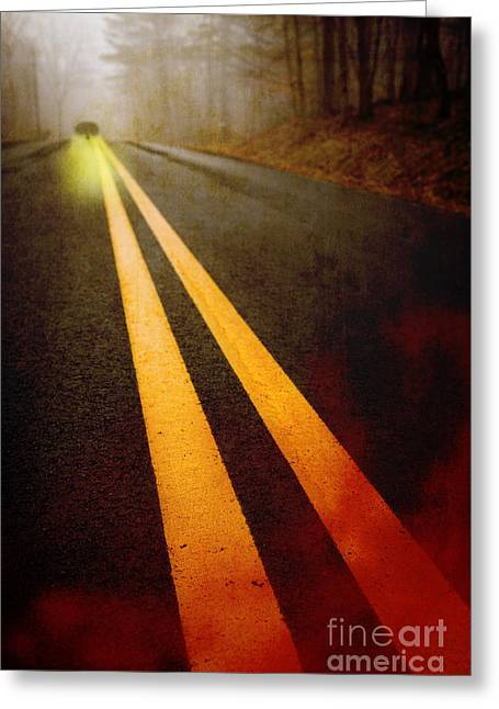 Roadway Photographs Greeting Cards - Late Night Encounter Greeting Card by Edward Fielding